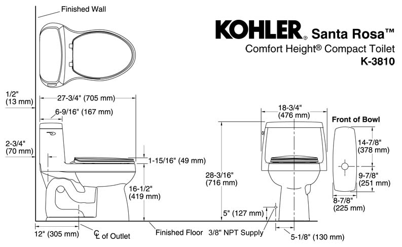 toilet rough in dimensions. KOHLER K 3810 Dimension Santa Rosa Toilet  0 One Piece Elongated 1 28GPF
