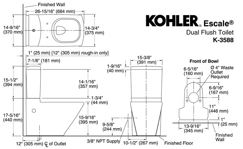 KOHLER K-3588 Escale Toilet Dimension