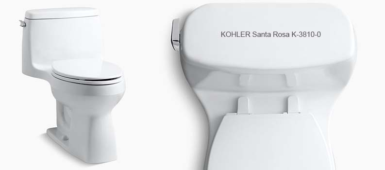 KOHLER Santa Rosa Toilet – K-3810-0 One Piece Elongated 1.28GPF