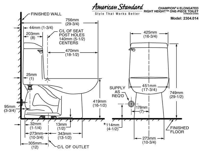dimensions of standard toilet. American Standard Champion 4 Toilet Model 2304 014 2034 020
