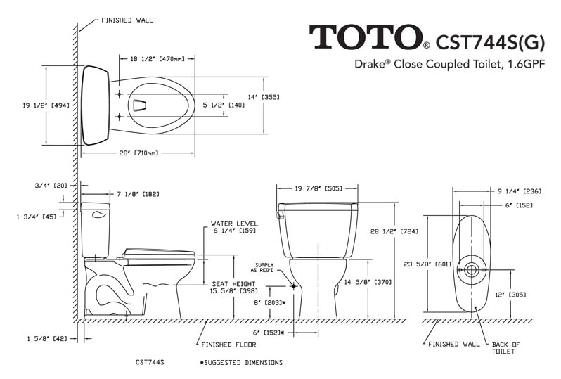 TOTO Drake CSTSG TwoPiece Elongated Toilet With Sanagloss - Elongated bowl toilet dimensions