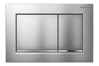 Geberit 115.080.KN.1 Omega30 Flush Plate Matte chrome frame with polished chrome accent and matte chrome button