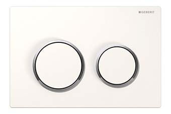 Geberit 115.085.KJ.1 Omega20 Flush Plate White frame with polished chrome ring and white button