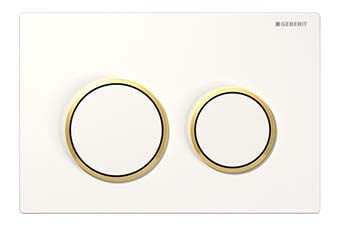Geberit 115.085.KK.1 Omega20 Flush Plate White frame with polished gold ring and white button