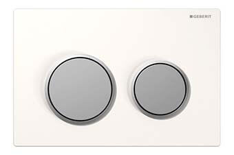 Geberit 115.085.KL.1 Omega20 Flush Plate White frame with matte chrome ring and button