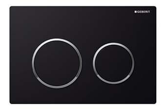 Geberit 115.085.KM.1 Omega20 Flush Plate Black frame with polished chrome ring and black button