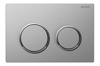 Geberit 115.085.KN.1 Omega20 Flush Plate Matte chrome frame with polished chrome ring and matte chrome button