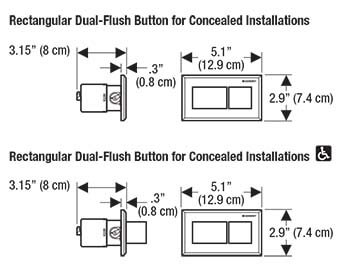 Geberit Rectangle Flush Button Dimension