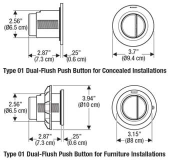 Geberit Type 01 Pneimatic Flush Button Dimensions