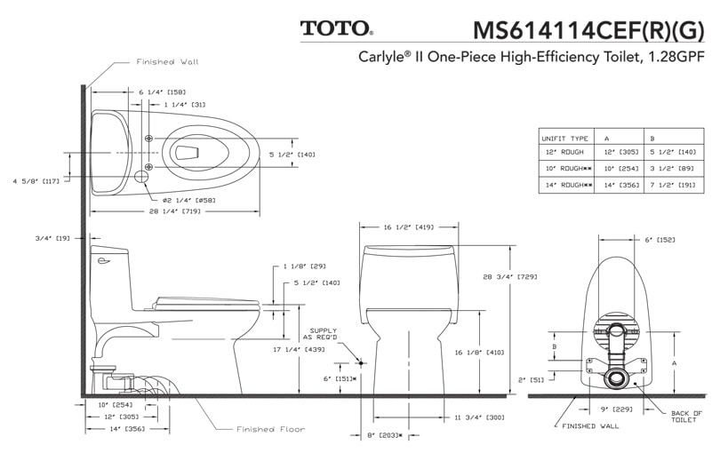 TOTO MS614114CEFG Dimension